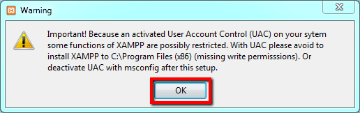 xampp uac warning 001