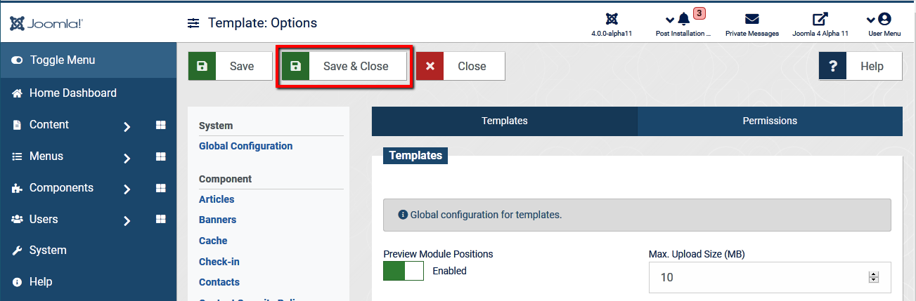 Joomla4 preview module positions save close